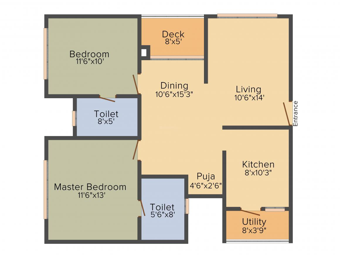 Cybercity Marina Skies Floor Plan: 2 BHK Unit with Built up area of 1160 sq.ft 1