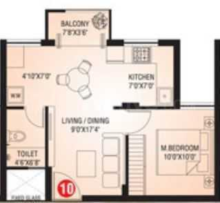Mamatha Shambhavi Heights Floor Plan: 1 BHK Unit with Built up area of 565 sq.ft 1