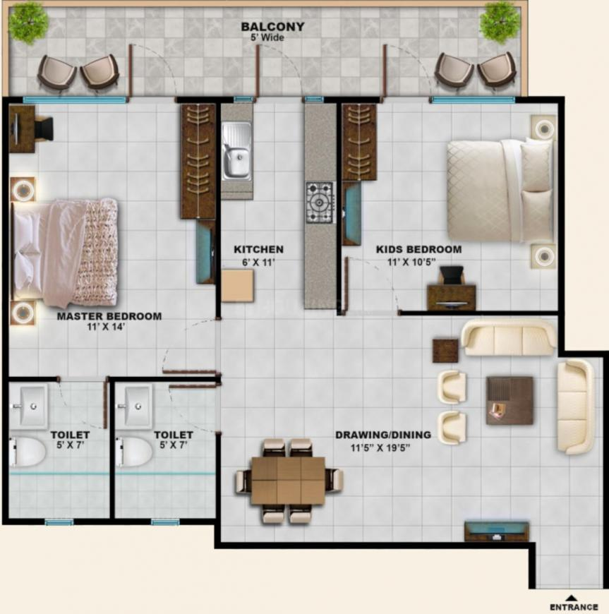 Sarvome Shree Homes Phase II Floor Plan: 2 BHK Unit with Built up area of 646 sq.ft 1