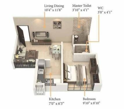 Royal Pristo Floor Plan: 1 BHK Unit with Built up area of 323 sq.ft 1