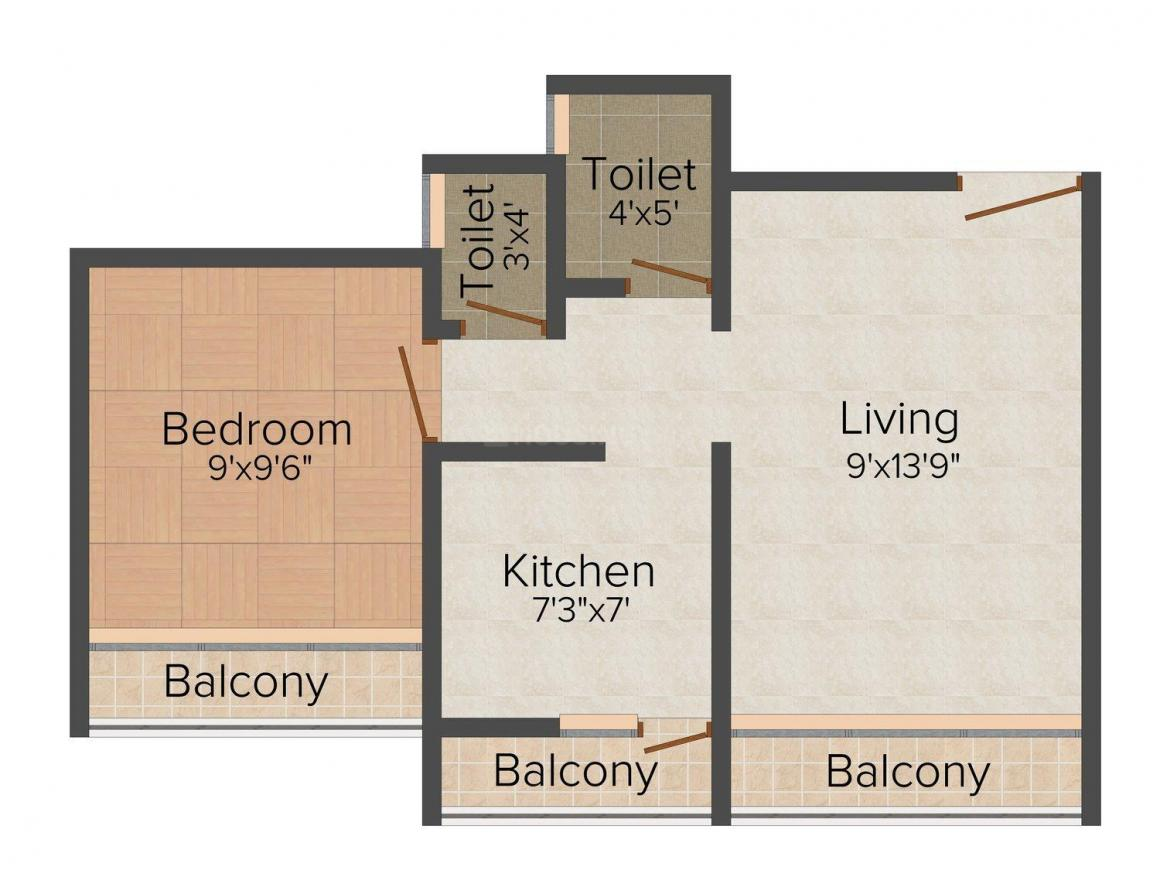 Floor Plan Image of 305.0 - 650.0 Sq.ft 1 BHK Apartment for buy in Sai Sakha