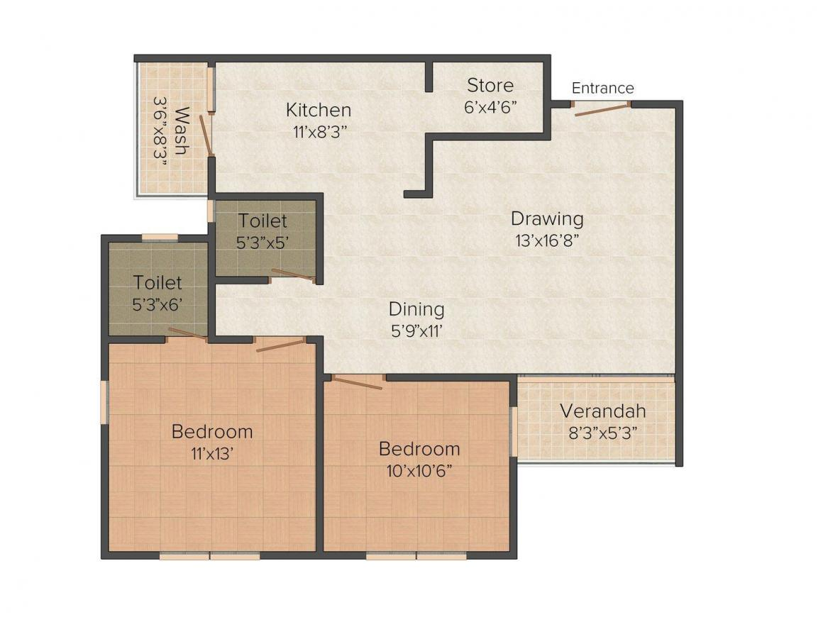 Madhav 99 Floor Plan: 2 BHK Unit with Built up area of 765 sq.ft 1