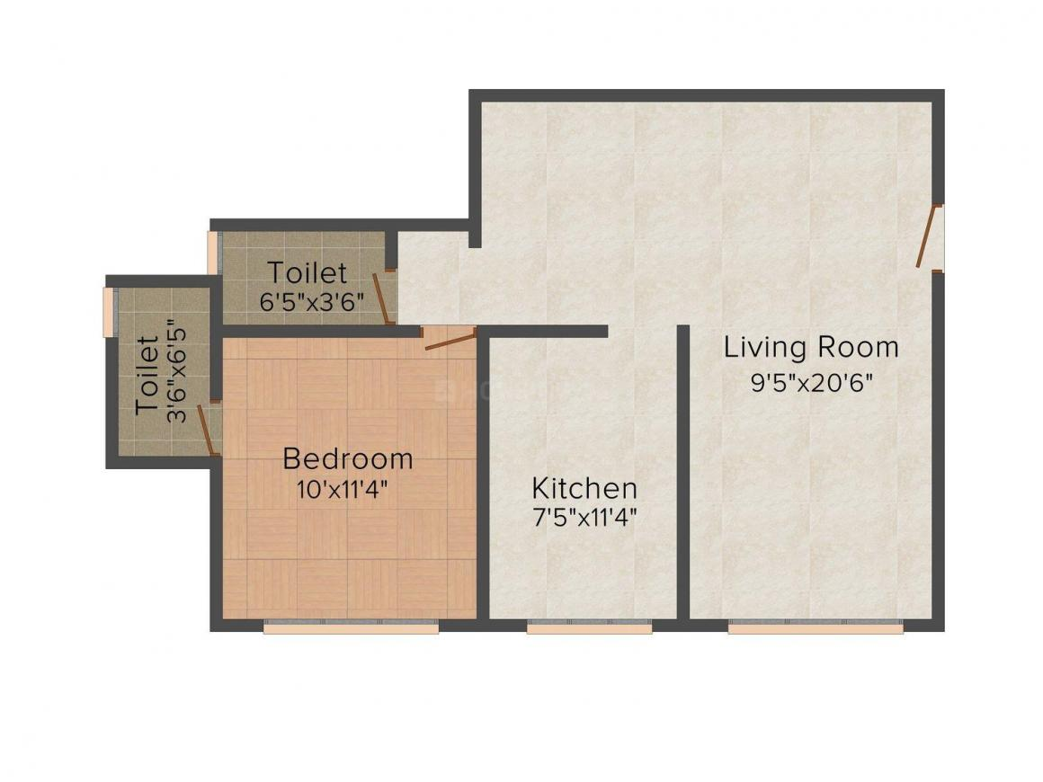 Floor Plan Image of 344.0 - 911.0 Sq.ft 1 BHK Apartment for buy in Yash Park