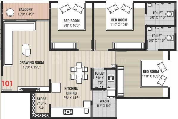 Kadamb Greens Floor Plan: 3 BHK Unit with Built up area of 749 sq.ft 1