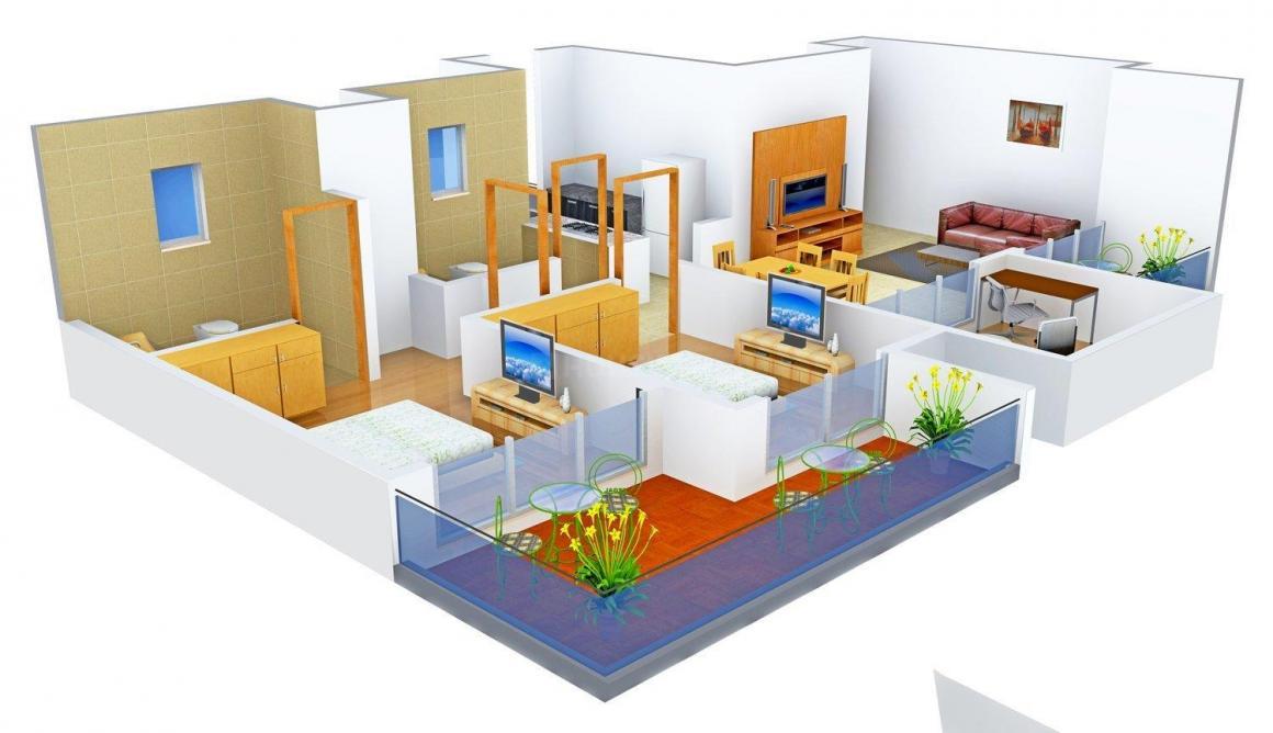 Floor Plan Image of 1425 - 3400 Sq.ft 2.5 BHK Apartment for buy in Mahagun Mahagun Meadows