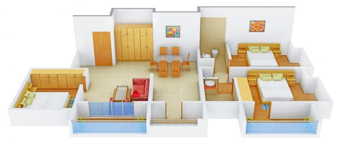 Floor Plan Image of 0 - 1600 Sq.ft 3 BHK Apartment for buy in Triveni Residency