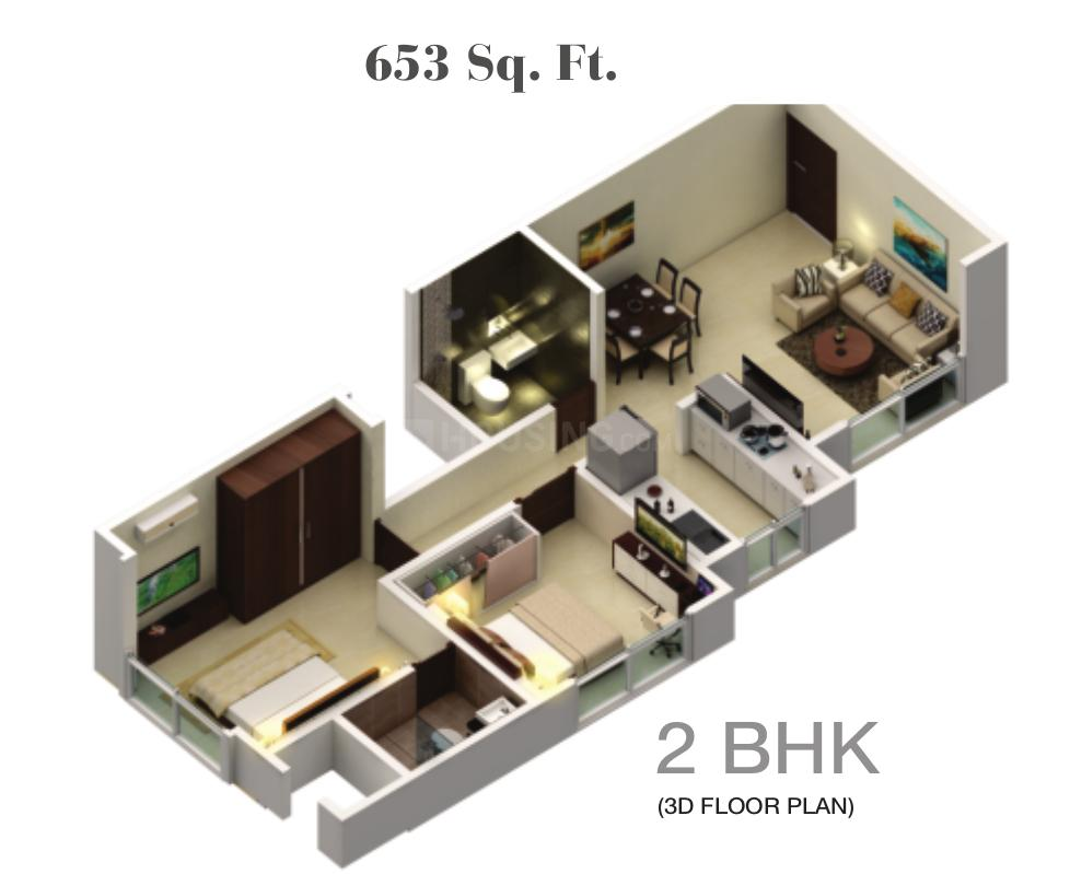 Palan Gagangiri Elanza Floor Plan: 2 BHK Unit with Built up area of 653 sq.ft 1