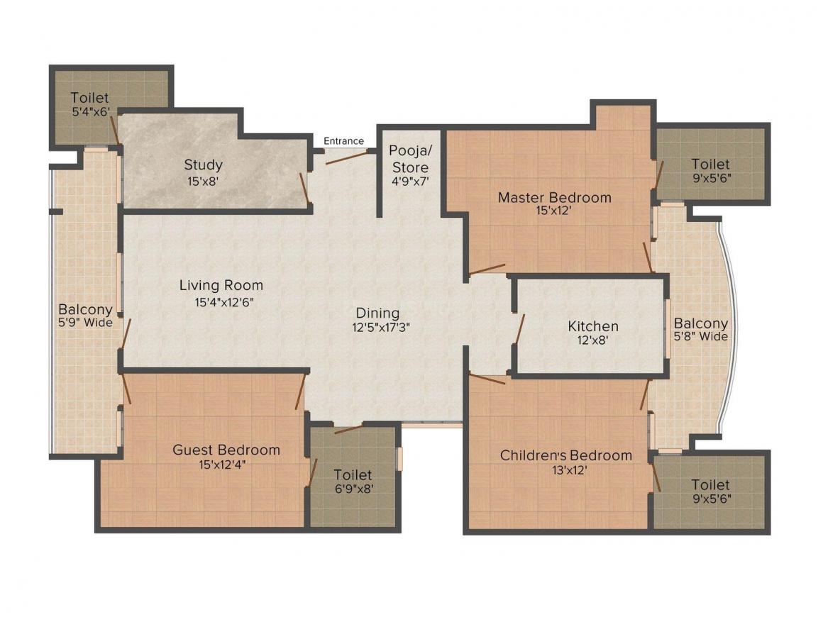 Infratech Floors - 6 Floor Plan: 3 BHK Unit with Built up area of 1400 sq.ft 1