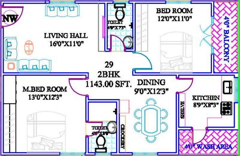 Sri Karthikeya Bliss Floor Plan: 2 BHK Unit with Built up area of 1143 sq.ft 1