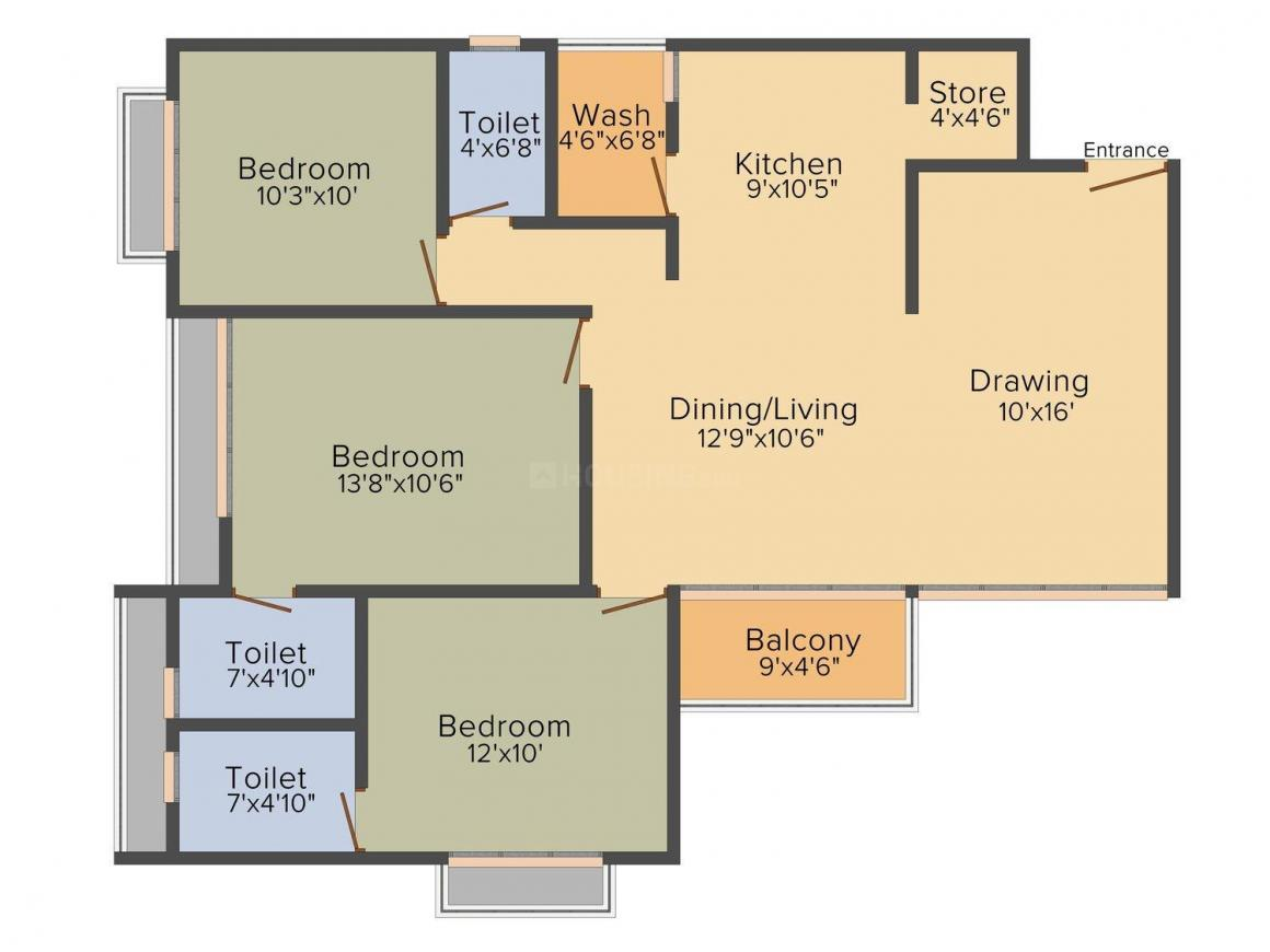Siddhivinayak Omkar Lotus Floor Plan: 3 BHK Unit with Built up area of 1800 sq.ft 1