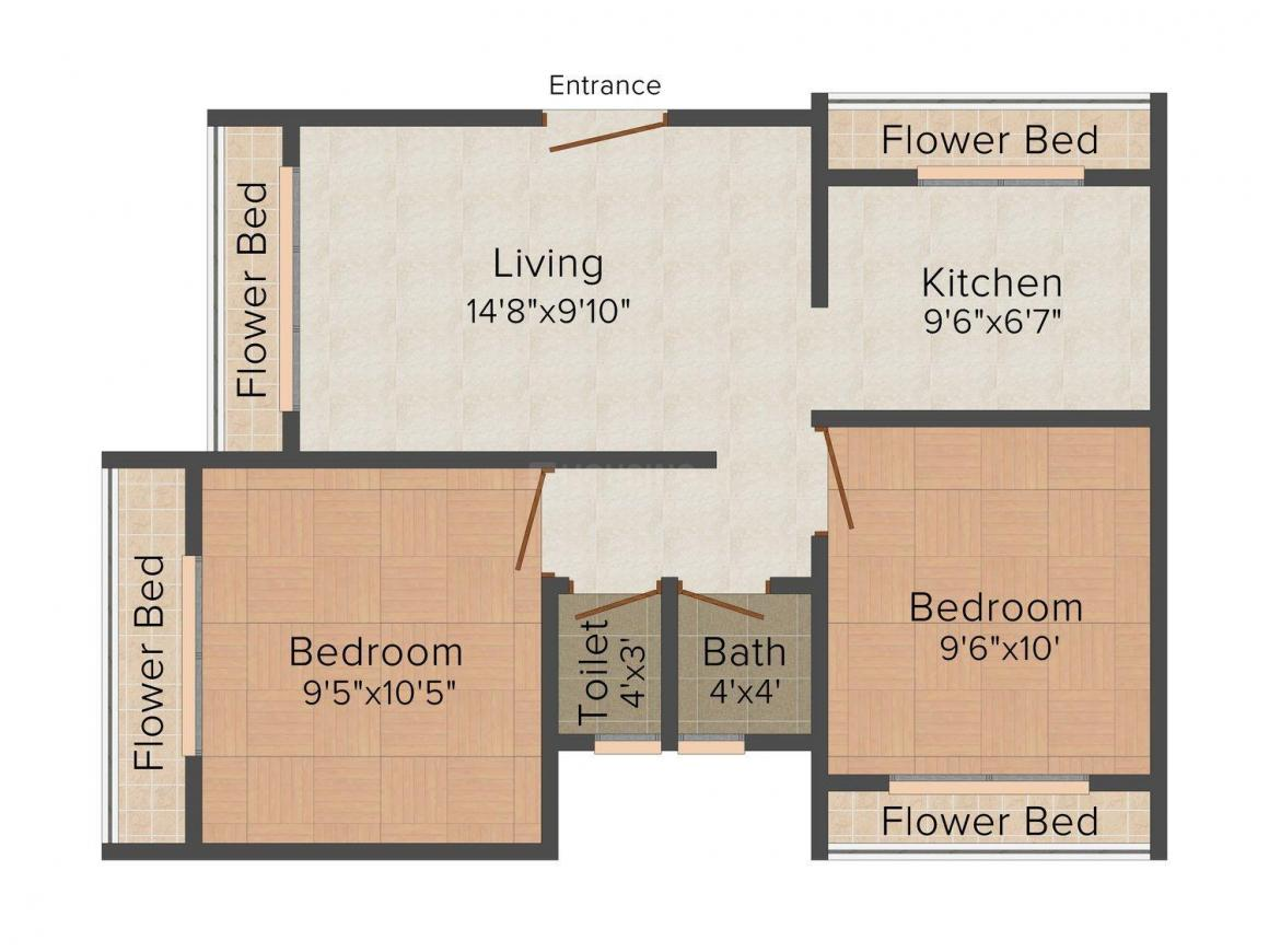 Floor Plan Image of 0 - 872.0 Sq.ft 2 BHK Apartment for buy in Tulip Shine