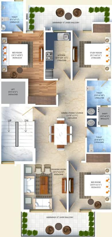Vishesh Floors Floor Plan: 3 BHK Unit with Built up area of 1300 sq.ft 1
