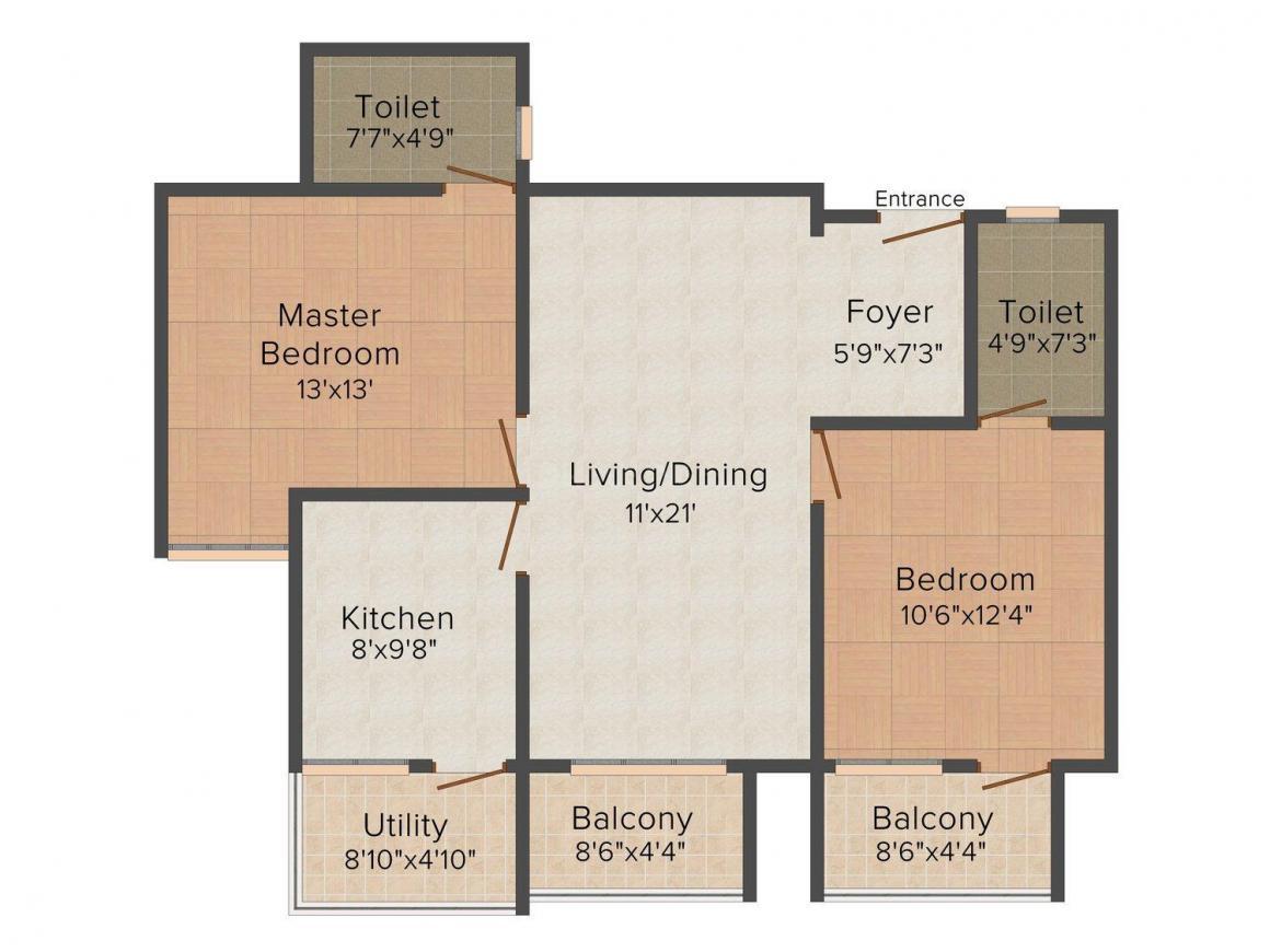 Floor Plan Image of 431 - 1540 Sq.ft Studio Studio Apartment for buy in Landmark Oxygen