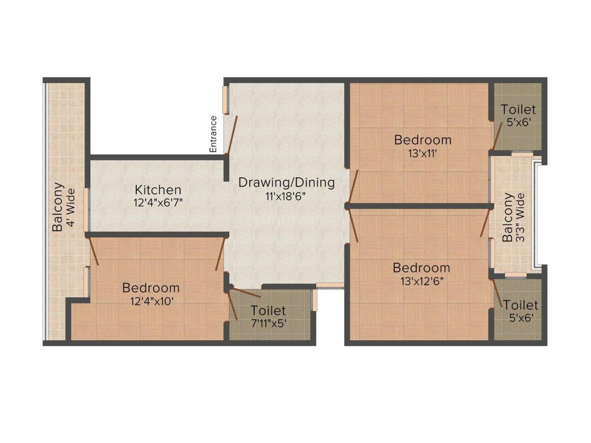 Inplan Techno Creative Home - 6 Floor Plan: 3 BHK Unit with Built up area of 1250 sq.ft 1