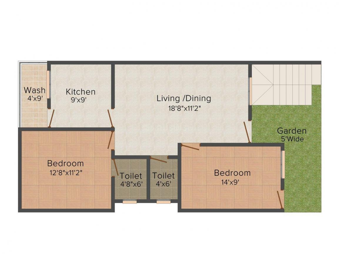 Floor Plan Image of 0 - 900 Sq.ft 2 BHK Bungalow for buy in Life Space Green Life Bungalows