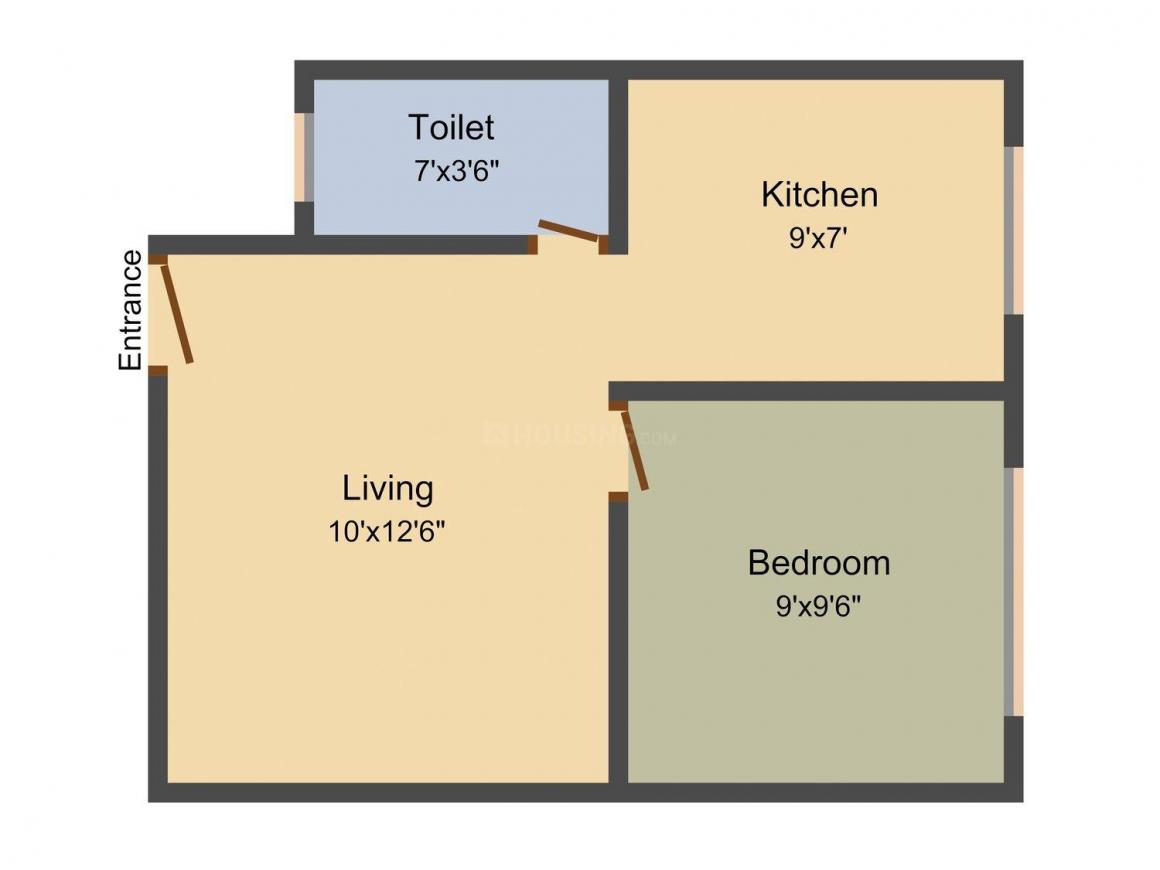 Floor Plan Image of 375 - 1250 Sq.ft 1 BHK Apartment for buy in Lucky Atharva Apartment