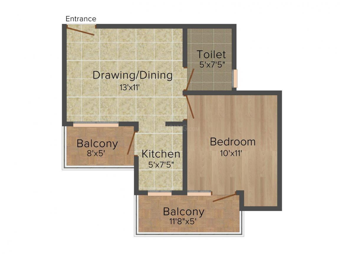 Shri Shyam SS Floor - 7 Floor Plan: 1 BHK Unit with Built up area of 720 sq.ft 1
