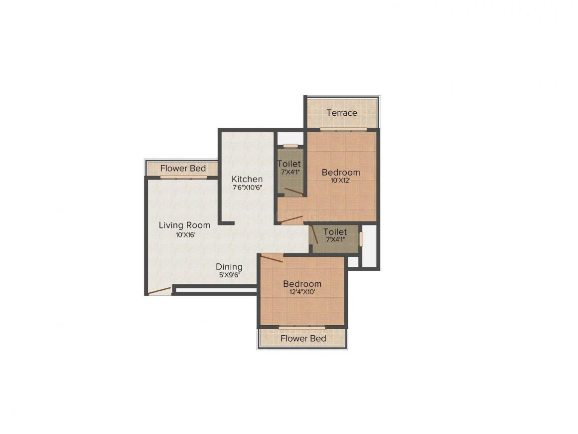 Floor Plan Image of 1100.0 - 1224.0 Sq.ft 2 BHK Apartment for buy in Tejas Heights