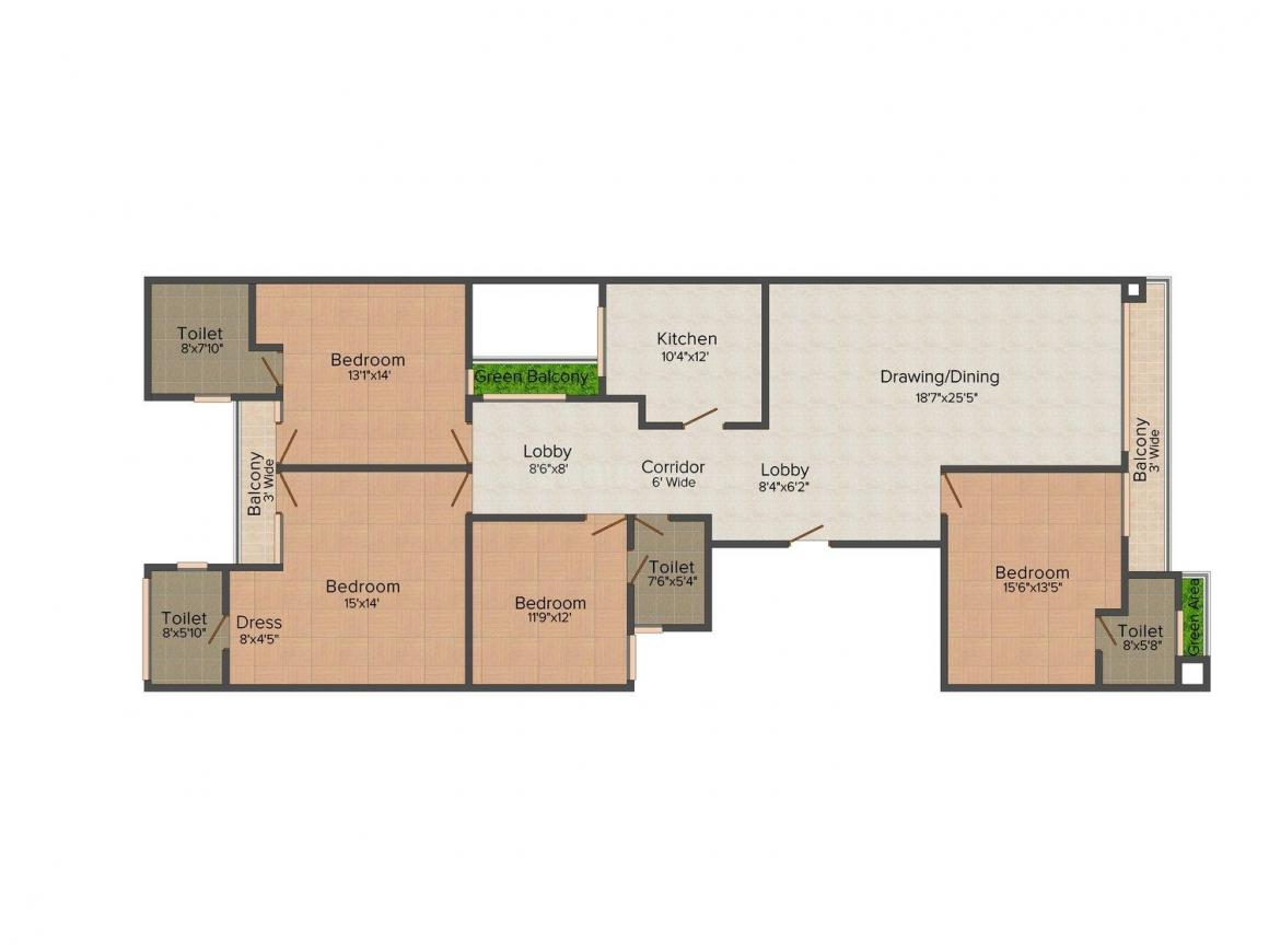 Orchid Synergy 67 Floor Plan: 4 BHK Unit with Built up area of 2260 sq.ft 1