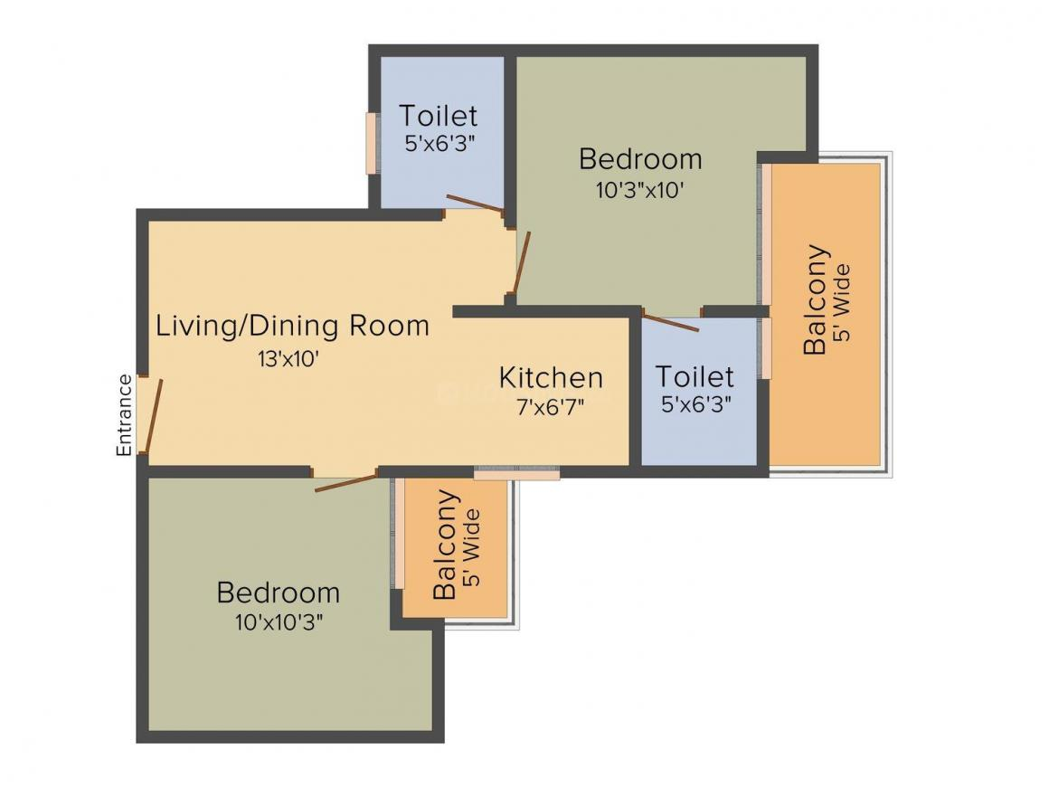 Floor Plan Image of 799.0 - 1795.0 Sq.ft 2 BHK Apartment for buy in Migsun Kiaan