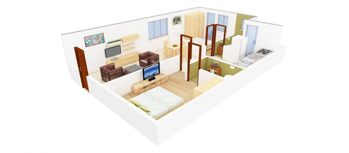 Floor Plan Image of 0 - 1000.0 Sq.ft 2 BHK Apartment for buy in Hiray Nishigandha