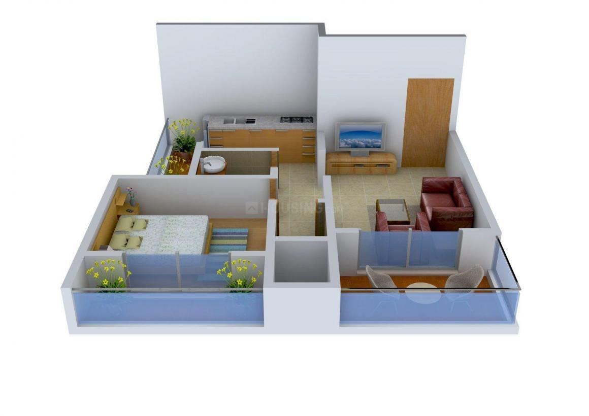 Tulip Garden Floor Plan: 1 BHK Unit with Built up area of 680 sq.ft 1