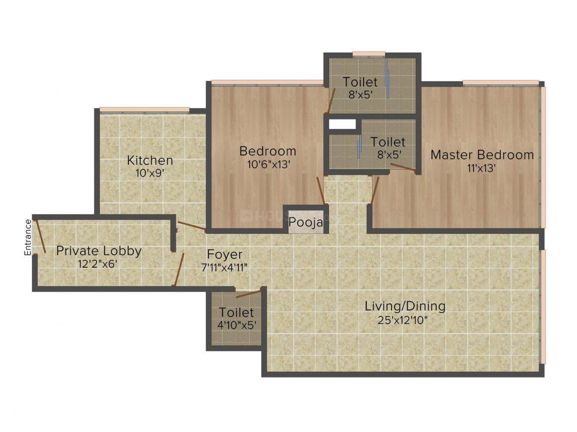 Floor Plan Image of 1646.0 - 2666.0 Sq.ft 2 BHK Apartment for buy in Hubtown Bay 1