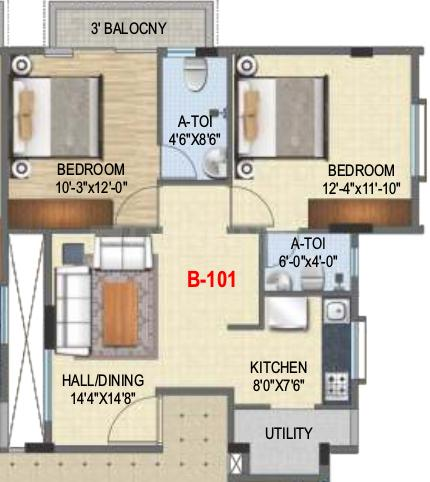 Laksh Royal Manor Floor Plan: 2 BHK Unit with Built up area of 959 sq.ft 1