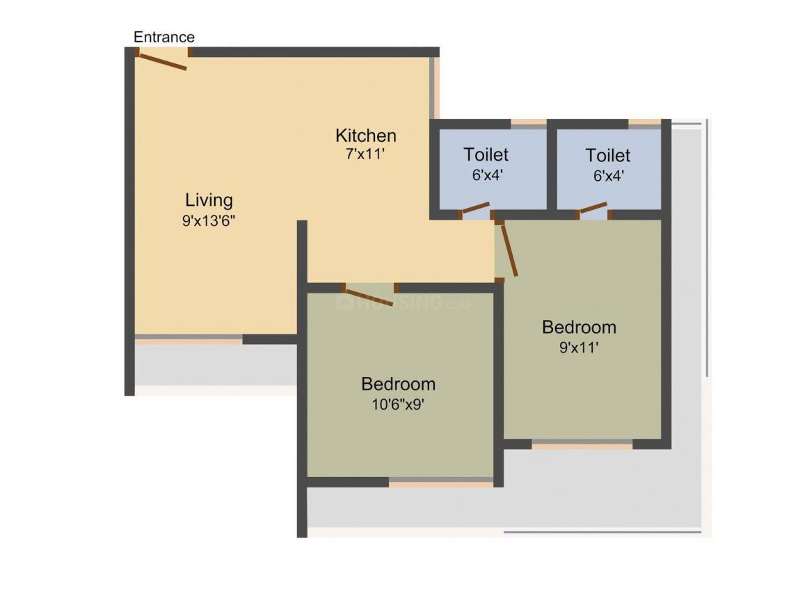 Floor Plan Image of 595 - 795 Sq.ft 1 BHK Apartment for buy in RR Spring Field