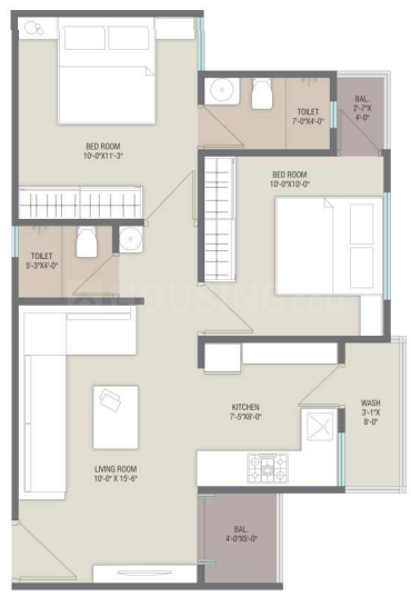 Safal Iris Floor Plan: 2 BHK Unit with Built up area of 619 sq.ft 1