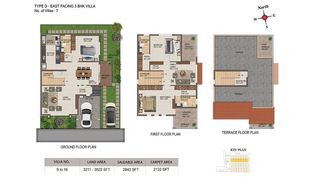 Casagrand Solitaire Floor Plan: 3 BHK Unit with Built up area of 2133 sq.ft 1