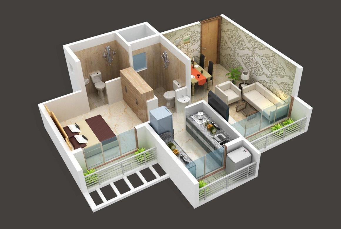 Floor Plan Image of 0 - 338.26 Sq.ft 1 BHK Apartment for buy in Sarang Pillars Bellview