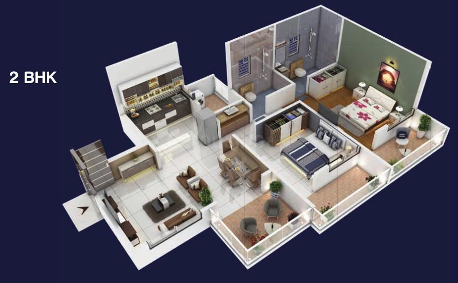 Siddh Amara Floor Plan: 2 BHK Unit with Built up area of 693 sq.ft 1