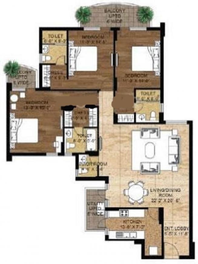 Unitech Exquisite Floor Plan: 3 BHK Unit with Built up area of 2205 sq.ft 1