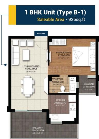 RBS Nilaya Heights Floor Plan: 1 BHK Unit with Built up area of 925 sq.ft 1