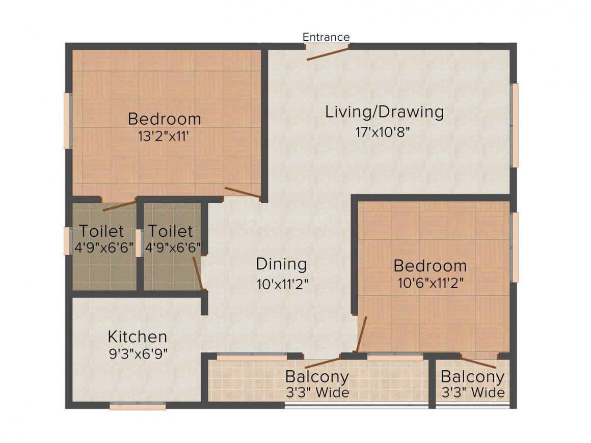 Floor Plan Image of 1060.0 - 1128.0 Sq.ft 2 BHK Apartment for buy in Aishwarya's Hibiscus