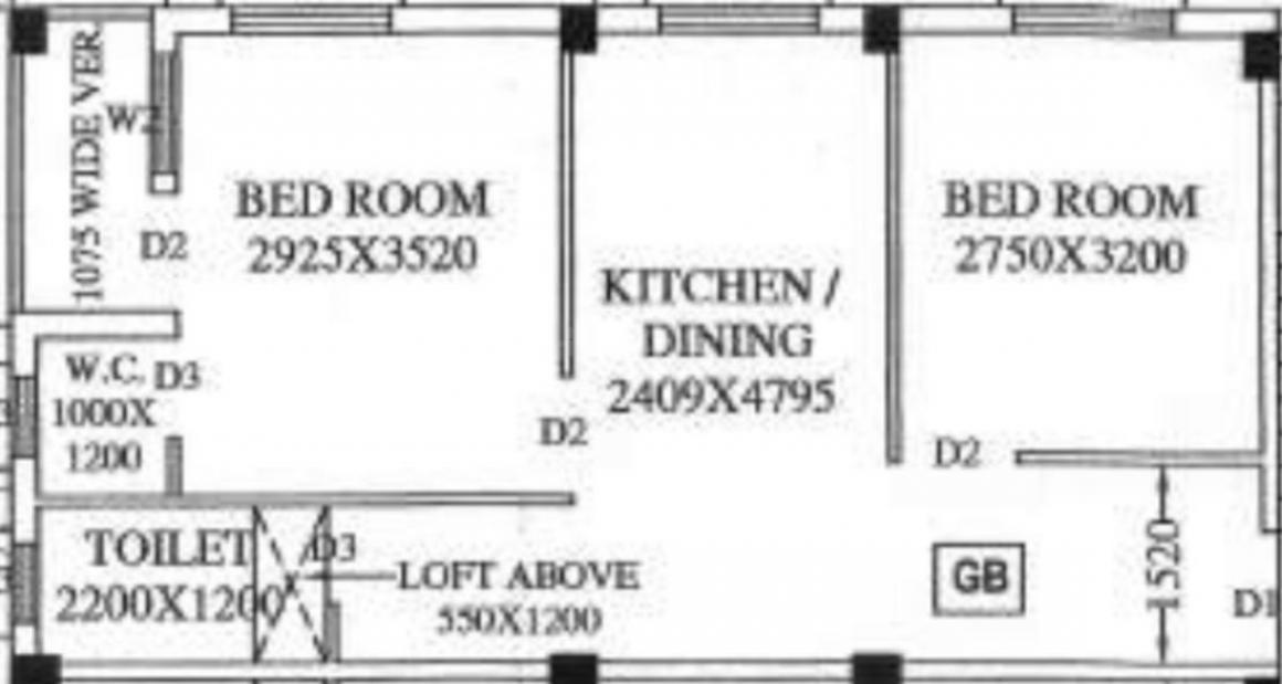 Anirban Shantineer Floor Plan: 2 BHK Unit with Built up area of 48.68 sq.mt 1