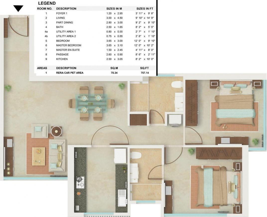 Dynamix Divum Floor Plan: 2 BHK Unit with Built up area of 757 sq.ft 1
