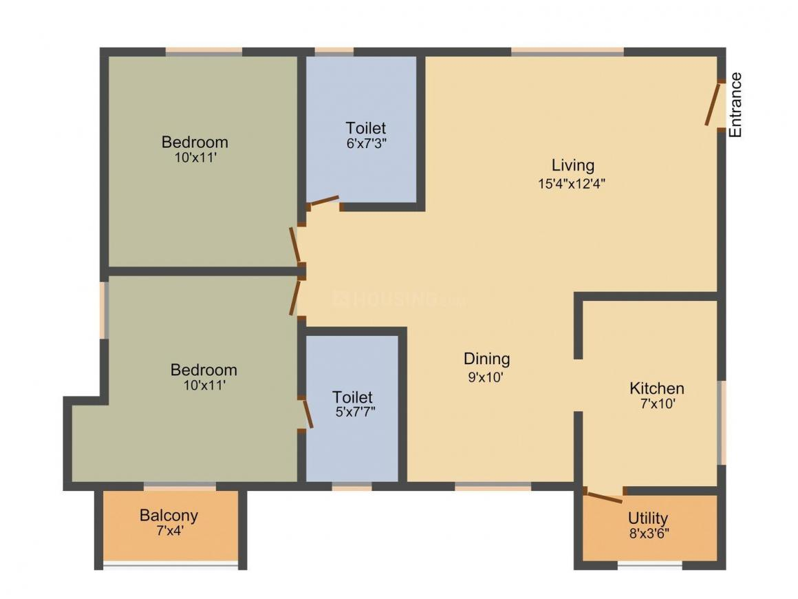 Poomalai Avantikaa Floor Plan: 2 BHK Unit with Built up area of 973 sq.ft 1