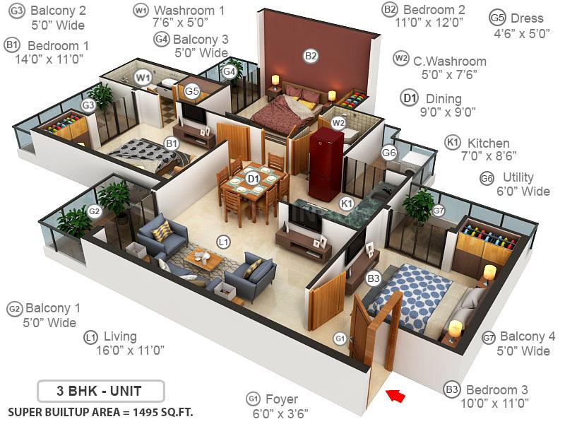 Civitech Stadia Floor Plan: 3 BHK Unit with Built up area of 1495 sq.ft 1