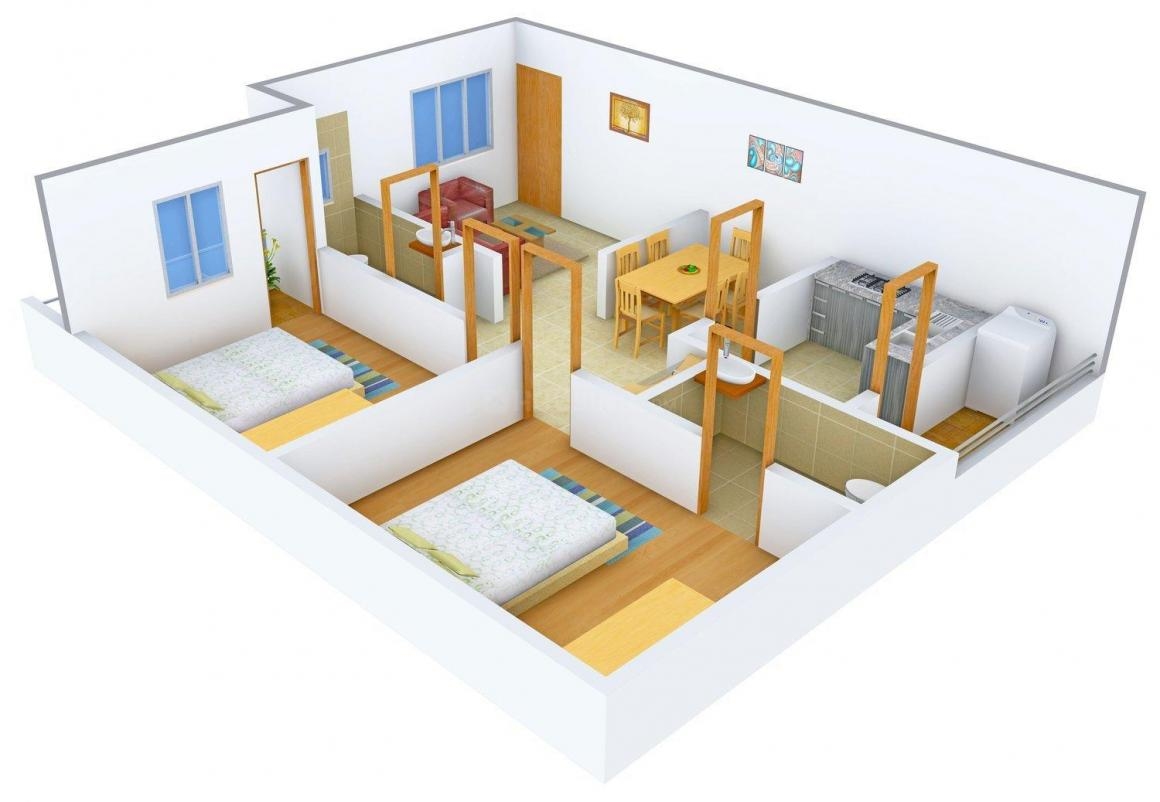 Floor Plan Image of 936.0 - 1908.0 Sq.ft 2 BHK Apartment for buy in Mythri The Town