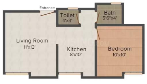 Bafna Raj Basera Floor Plan: 1 BHK Unit with Built up area of 700 sq.ft 1