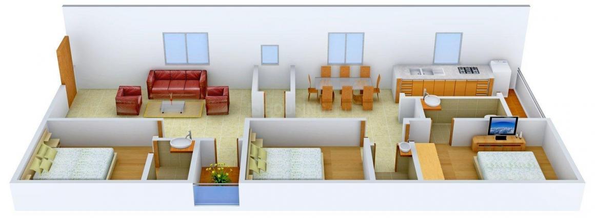 Sammeta's Gruha Lakshmi Pride Floor Plan: 3 BHK Unit with Built up area of 1475 sq.ft 1
