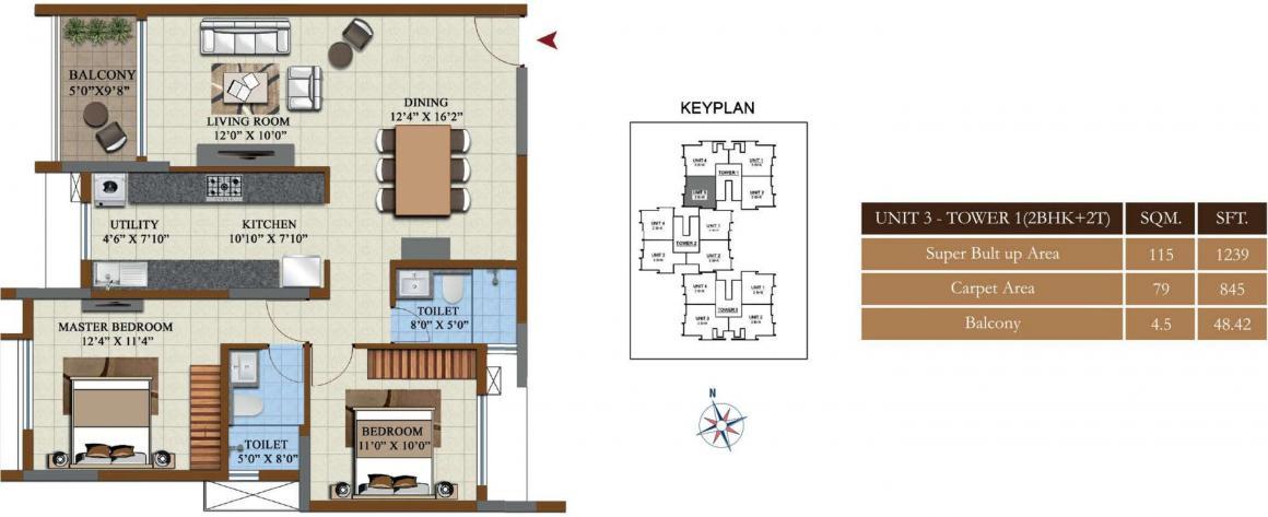 Salarpuria Sattva Opus Floor Plan: 2 BHK Unit with Built up area of 1239 sq.ft 1