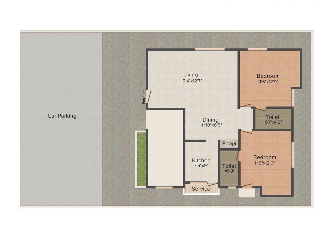 Floor Plan Image of 0 - 1153.0 Sq.ft 2 BHK Apartment for buy in Anupam