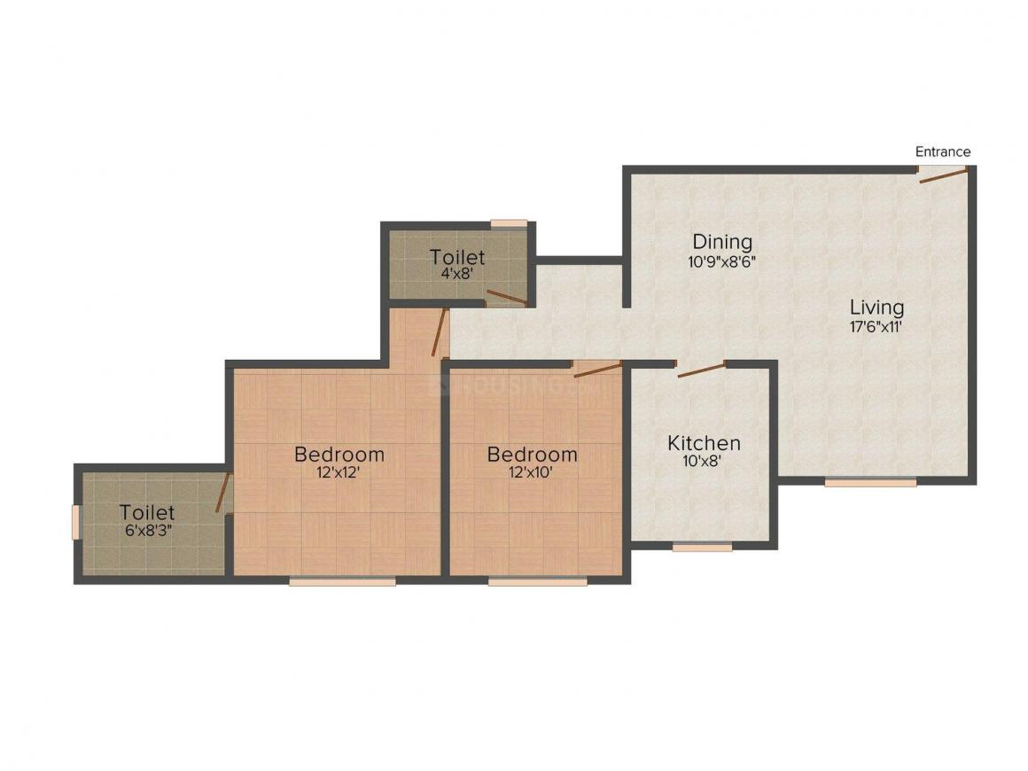 Agarwal Yashwant Heights Floor Plan: 2 BHK Unit with Built up area of 1165 sq.ft 1