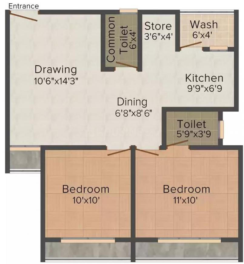 Shree Sarju Developers Shakti Aastha Square Floor Plan: 2 BHK Unit with Built up area of 1026 sq.ft 1