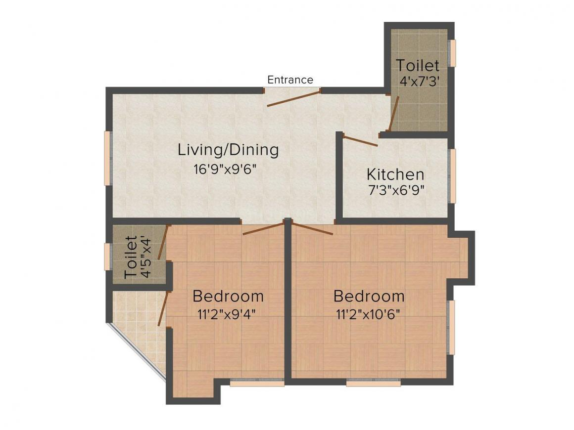 Floor Plan Image of 790.0 - 830.0 Sq.ft 2 BHK Apartment for buy in Trikal Arpon