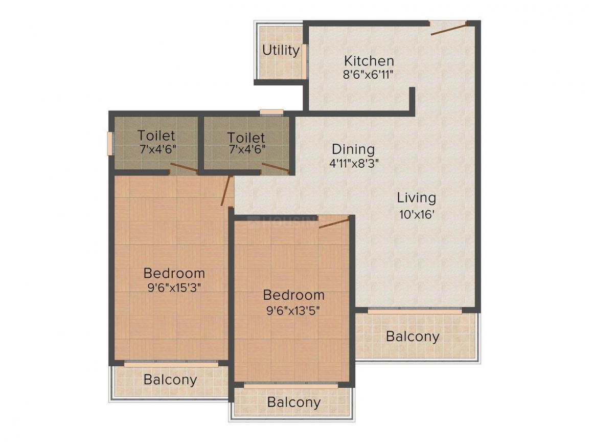 Floor Plan Image of 658 - 1115 Sq.ft 2 BHK Apartment for buy in Bharat Belmonte