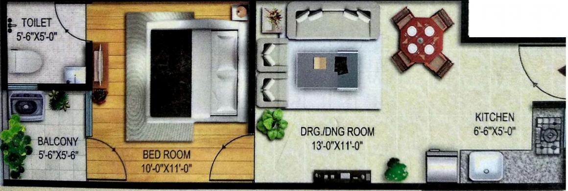 Shree Ganpati Residency Floor Plan: 1 BHK Unit with Built up area of 550 sq.ft 1